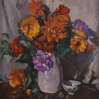 Still Life of Summer Flowers in a White Vase