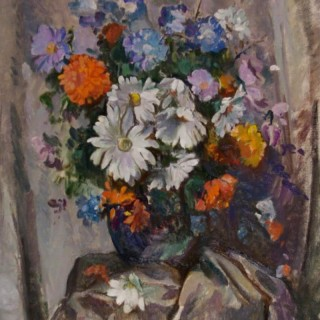 Still Life of Summer Flowers in a Coloured Vase