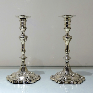 Antique George III Sterling Silver Pair Candlesticks London 1763 William Cafe