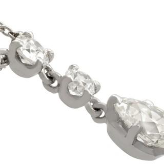 1.42 ct Diamond and 18 ct White Gold Drop Necklace - Antique Circa 1930