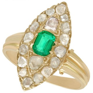 0.42 ct Emerald and 1.78 ct Diamond, 9 ct Yellow Gold Marquise Ring - Antique