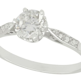 0.67 ct Diamond and Platinum Solitaire Ring - Vintage Circa 1960 and Contemporary