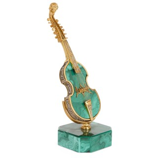 Set of five vermeil and hardstone miniature musical instruments