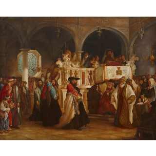 Antique oil painting of Torah Procession after Solomon Alexander Hart