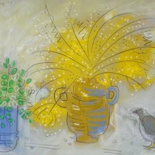 Mimosa and Bird
