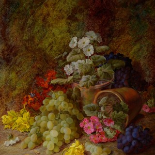 Still Life of Grapes and Flowers