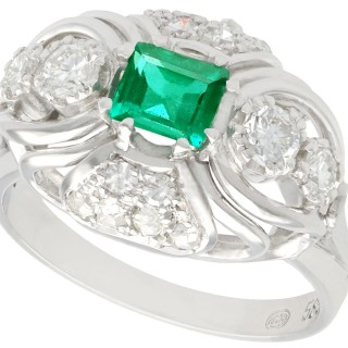 0.55ct Emerald and 0.46ct Diamond, 14ct White Gold Dress Ring - Vintage Circa 1950