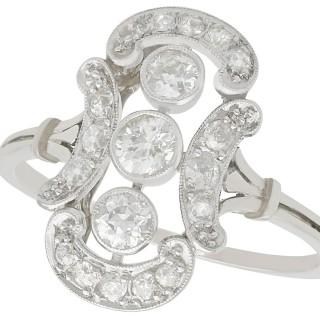 0.80 ct Diamond and 14 ct White Gold Dress Ring - Antique Circa 1920