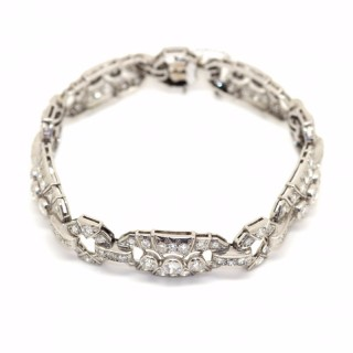 Art Deco Platinum French Diamond Bracelet