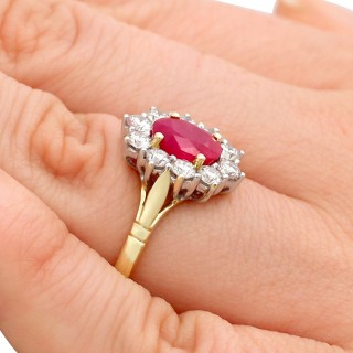 1.88 ct Ruby and 0.70 ct Diamond, 18ct Yellow Gold Cluster Ring - Vintage Circa 1990