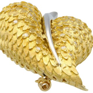 0.32ct Diamond and 18ct Yellow Gold Leaf Brooch - Vintage 1963
