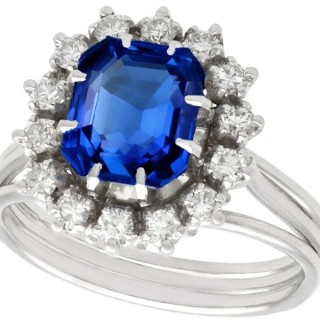 2.65ct Sapphire and 0.56ct Diamond 18ct White Gold Platinum Set Dress Ring - Vintage French Circa 1970