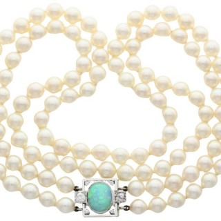 Double Strand Pearl and 2.01 ct Opal and 0.78 ct Diamond, 18 ct White Gold Necklace - Antique and Vintage