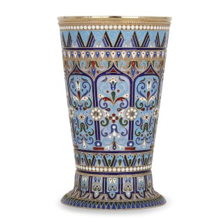 Russian silver gilt and cloisonné enamel beaker by Ovchinnikov