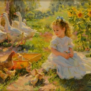 Young Girl with Baby Chicks