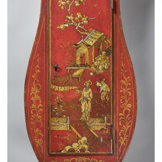 A fine red japaned and chinoiseri decorated late 18th century tavern clock, signed George Allett LONDON, c. 1780.