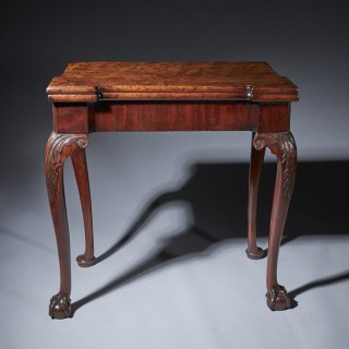 A Fine Irish Mid 18th Century Carved Mahogany Console Card Table