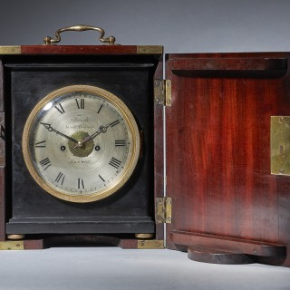 A unique early ninetieth century travelling clock, signed French Royal Exchange LONDON.