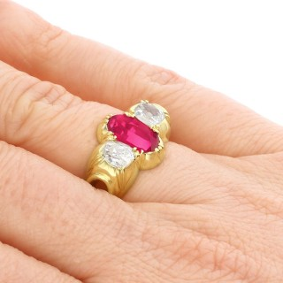 2ct Ruby and 0.89ct Diamond 18ct Yellow Gold Dress Ring - Antique Circa 1900