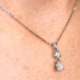 1.55ct Diamond and 18ct White Gold Pendant - Vintage French Circa 1990