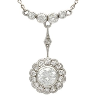 2.24 ct Diamond and 14 ct Yellow Gold Necklace - Antique Circa 1930