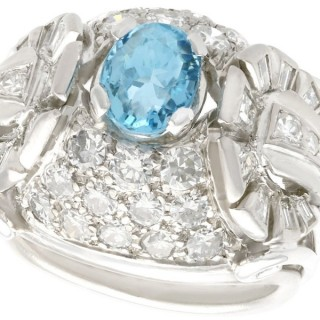 0.95ct Aquamarine, 2.06ct Diamond and Palladium Dress Ring - Vintage Circa 1950