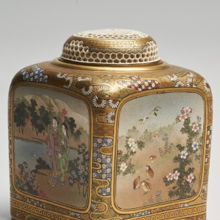 An exceptional pair of Japanese Meiji Period Satsuma Koro signed Kinkozan and four other artists