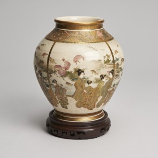 An interesting Japanese Meiji Period Satsuma vase signed Fuzan Ryun