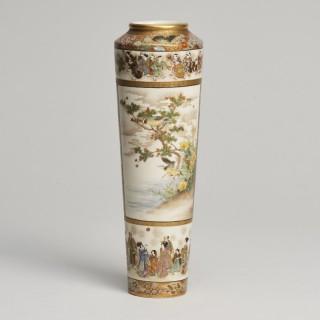 An elegant Japanese Meiji Period Satsuma vase signed Ryozan