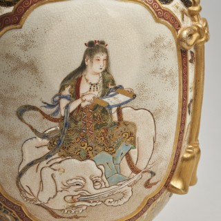 A Japanese Meiji Period Satsuma vase and cover by Meizan