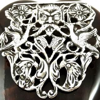Antique Victorian Sterling Silver & Tortoiseshell Desk Clip 1895