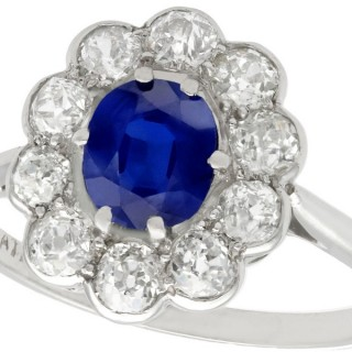 0.95ct Sapphire and 1.15ct Diamond, Platinum Cluster Ring - Antique Circa 1920
