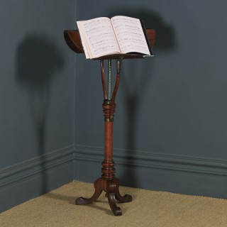 Antique English Victorian Mahogany Adjustable Duet Music & Book Stand Tripod Side Table By Swann & Millican (Circa 1860)