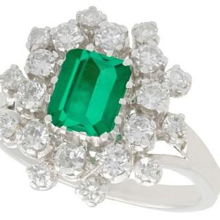 1.24 ct Emerald and 1.15 ct Diamond, 14 ct White Gold Dress Ring - Vintage Circa 1950