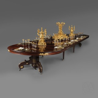 A Large Napoléon III Gilt-Bronze Mounted  Mahogany Extending  Dining Table