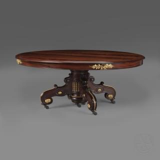 A Large Napoléon III Gilt-Bronze Mounted  Mahogany Extending  Dining Table
