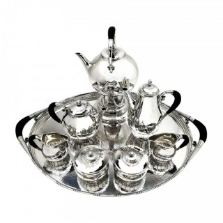 Georg Jensen Cosmos Sterling Silver 8 P Tea & Coffee Set 1920 - 45 Tray Denmark