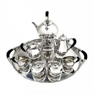 Georg Jensen Cosmos Sterling Silver 8 P Tea & Coffee Set 1920 - 45 Tray Denmark