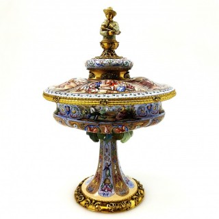 Antique Viennese Enamel Silver Gilt Lidded Dish / Comport, circa 1870