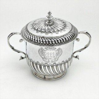 William III Sterling Silver Porringer and Lid / Cup and Cover 1695, 17th Century