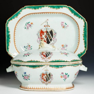 Chinese export porcelain soup tureen and stand, arms of WATHEN impaling WALLER, c. 1760,  Qianlong reign, Qing dynasty.