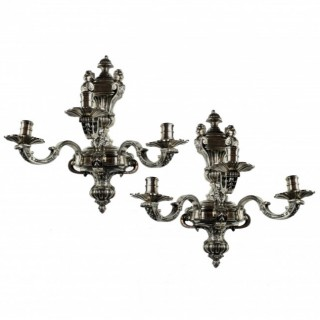 A PAIR OF FINE SILVER PLATED BRONZE KNOLE WALL LIGHTS