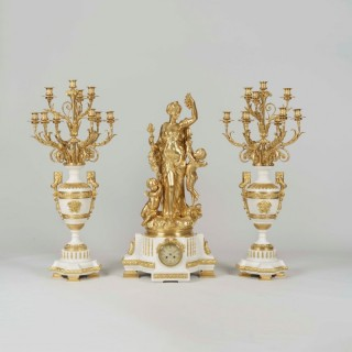 An Exhibition Quality Garniture de Cheminée By Jules Graux