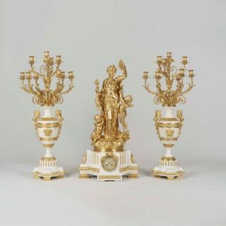 A Gilt Bronze Exhibition Quality Garniture de Cheminée By Jules Graux