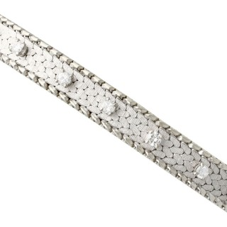 0.75 ct Diamond and 18 ct White Gold Bracelet - Vintage Circa 1960