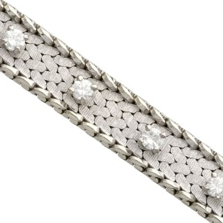 0.75 ct Diamond and 18 ct White Gold Bracelet - Vintage Circa 1960