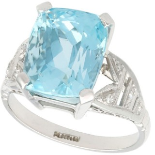 7.09ct Aquamarine and 0.13ct Diamond, Platinum Dress Ring - Vintage Circa 1960