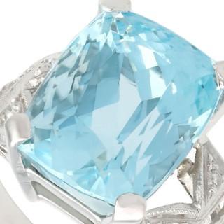 7.09ct Aquamarine and 0.13ct Diamond, Platinum Dress Ring - Vintage Circa 1960