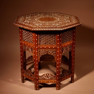 A Very Decorative Finely Ivory Inlayed Indian Hardwood Folding Table Circa 1900.