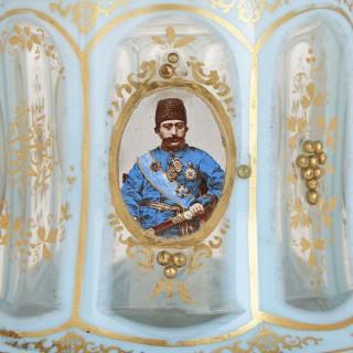 Light blue and gilded Bohemian glass Huqqa base